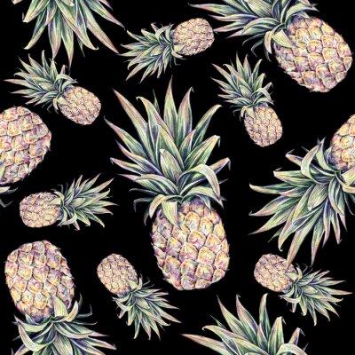 Naklejka Ananasy na czarnym tle. Akwarela kolorowych ilustracji. Owoc tropikalny. Jednolite wzór