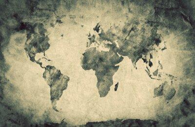 Naklejka Ancient, old world map. Pencil sketch, vintage background