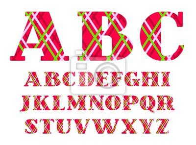 Angielska chrzcielnica, barwione linie na czerwonym tle, wektor. Wielkie litery alfabetu angielskiego. Czcionki wektorowe. Listy z szeryfami. Cienkie kolorowe linie na czerwonym polu. Wzór geometryczn