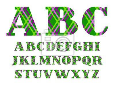 Angielska chrzcielnica, barwione linie na zielonym tle, wektor. Wielkie litery alfabetu angielskiego. Czcionki wektorowe. Listy z szeryfami. Cienkie kolorowe linie na zielonym polu. Wzór geometryczny.