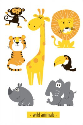 Naklejka Animals vector set. Cartoon Monkey, giraffe, lion, hippo, elephant, tiger, toucan pirate. Perfect for wallpaper,print,packaging,invitations,Baby shower,birthday party,patterns,travel,logos etc