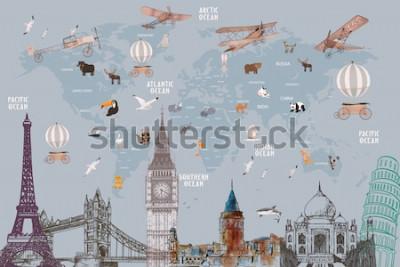 Naklejka Animals world map and famous landmarks of the world for kids wallpaper design