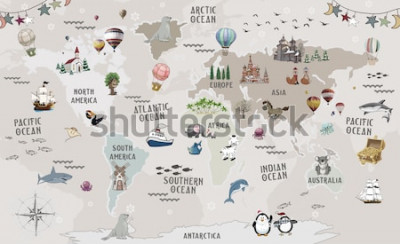 Naklejka Animals world map for kids wallpaper design