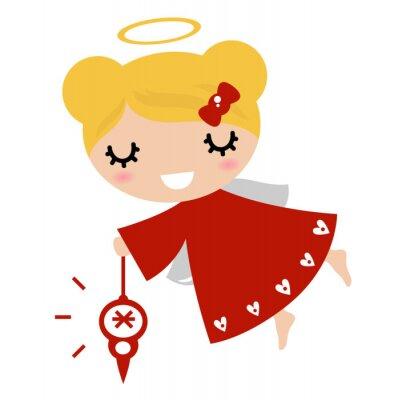 Naklejka Anioł dziewczyna z Xmas dekoracji (czerwony)