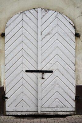 antique wooden white door old texture.