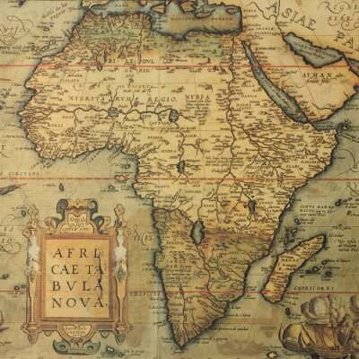 Naklejka antyczne map mapa Afryki przez holenderskiego kartografa Abrahama Orteliusa