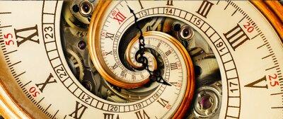 Naklejka Antykwarska stara zegarowa abstrakcjonistyczna fractal spirala. Zegarek klasyczny zegar mechanizm niezwykłe streszczenie tekstura fraktal wzór tła. Stary zegar mody rzymskie cyfry arabskie ręce zegara