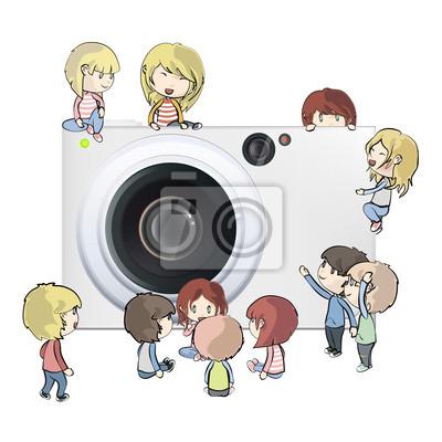 Aparat fotograficzny z kilku dzieci. Vector design.