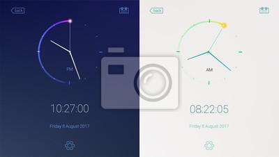 Naklejka Aplikacja zegara na jasnym i ciemnym tle. Koncepcja projektowania UI, warianty dzienne i nocne. Cyfrowa aplikacja odliczająca, zestaw interfejsu użytkownika, mobilny interfejs zegara. Elementy interfe