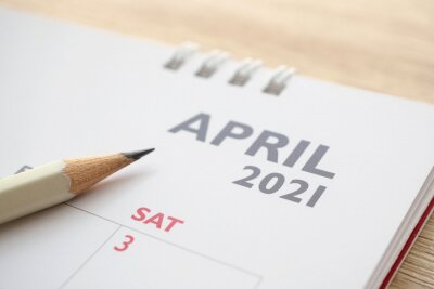 Naklejka April month on 2021 calendar page with pencil business planning appointment meeting concept