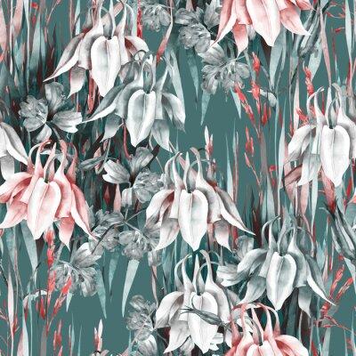 Naklejka Aquilegia Flowers Seamless Pattern. Watercolor Background.