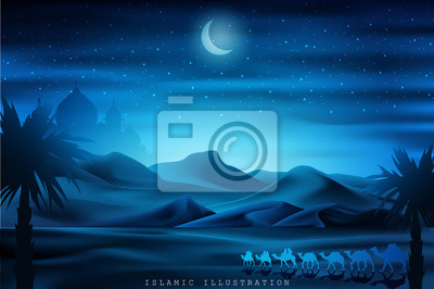 Naklejka Arabian land by riding on camels at night accompanied by sparkles of stars, mosques for illustrative Islamic background