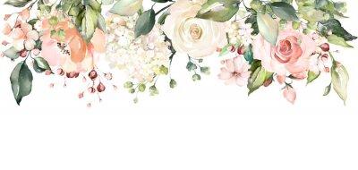 aranżacje z kwiatami akwareli. kwiatowy ilustracji. Botaniczny skład na ślub lub karty z pozdrowieniami. gałąź kwiatów - róże abstrakcji