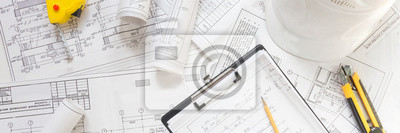Naklejka architect design working drawing sketch plans blueprints and making architectural construction model in architect studio,flat lay