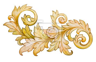 Archiwalne barokowy kwiatowy ornament wektor akwarela