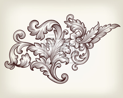 Archiwalne barokowy kwiatowy ornament wektor przewijania