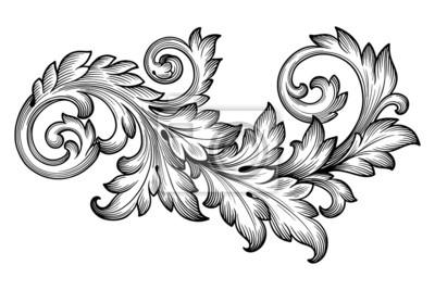 Archiwalne barokowy liści wektor kwiatowy ornament przewijania