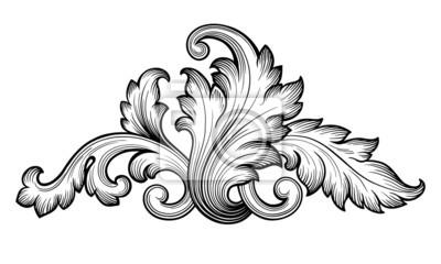 Archiwalne barokowy ornament wektor liści przewijania
