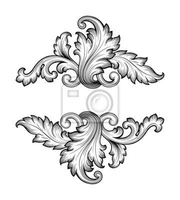 Archiwalne barokowy ornament wektor rama przewijania