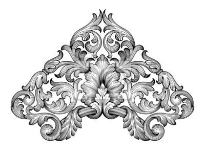 Archiwalne barokowy przewijania ornament rogu ramki wektor