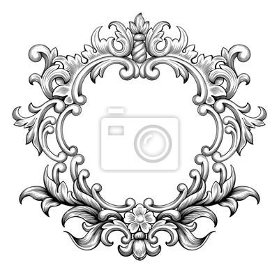 Archiwalne barokowy ramki granicy liści przewijania grawerowanie kwiatowy ornament kwiatowy wzór retro stylu antycznym wirować Element dekoracyjny czarny i biały filigran wektora Karta zaproszenie na