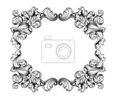 Archiwalne barokowy Victorian ramki granicy monogram kwiatu grawerowane przewijania ornament liści retro wzór kwiatowy deseń tatuaż czarno-biały filigran kaligrafii wektor tarczy herbowej wirować