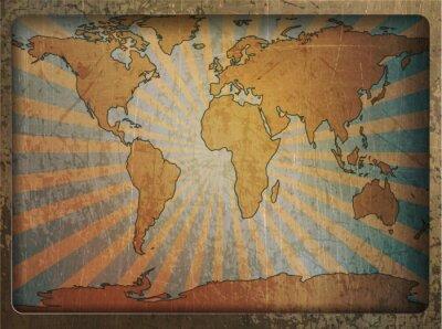 Naklejka Archiwalne karty mapa świata