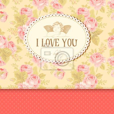 Archiwalne karty z róż w tle i amorek.