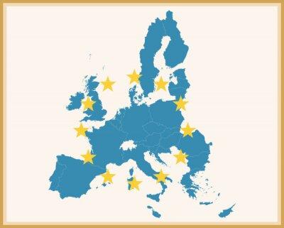 Naklejka Archiwalne Mapa Unii Europejskiej z flagi UE