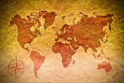 Naklejka archiwalne papieru z mapy świata