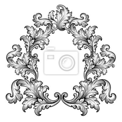 Archiwalne ramki barokowa przewijania ozdoba wektorowe