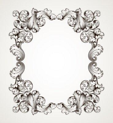 archiwalne ramki granicy grawerowanie baroque vector