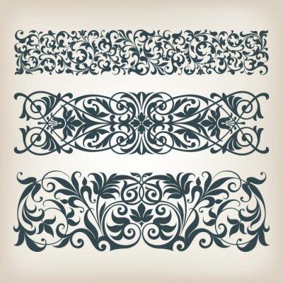 archiwalne ramki granicy zestaw kaligrafii wektor ozdobny przewijać