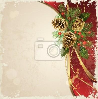 archiwalne tła z Boże Narodzenie choinki i szyszki