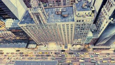 Naklejka Archiwalne zdjęcia ulic Nowego Jorku z dachu