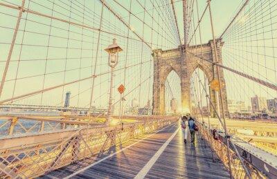 Naklejka Archiwalne zdjęcia z Brooklyn Bridge w Nowym Jorku