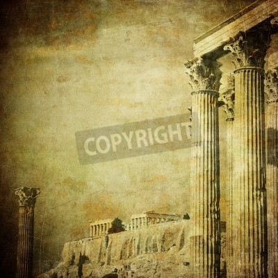 Naklejka Archiwalne zdjęcie z greckich kolumn, Akropol, Ateny, Grecja