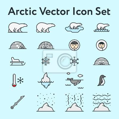 Arctic North Pole Zimowe Minimalistyczne Kolorowe Płaskie Linii Linii Ikona Stroke Piktogram Ilustracja Zestaw Kolekcja