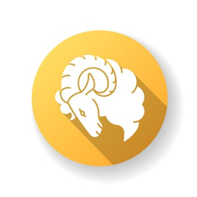 Aries zodiac sign yellow flat design long shadow glyph icon. Horoscope ram. Astrological birth sign. Horned farm animal, herbivore livestock, domestic cattle. Silhouette RGB color illustration