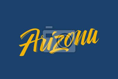 Arizona USA Państwo Word Logo Ręcznie malowane Szczotka Szablon Logo Kaligrafii Szablon