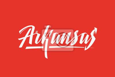 Arkansas USA Państwo Słowo Logo Ręcznie malowane Szczotka Szablon Logo Kaligrafii