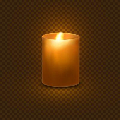 Aromatyczny wosk okrągły świeca spa z płonącym płomieniem światła na przezroczystym tle. Wektor element projektu realistyczne 3D przy świecach.