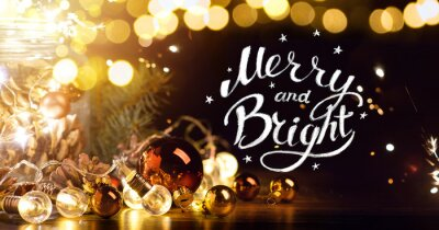 Art Christmas – Banner  with Christmas Tree Light Decorations Background; Art Merry Christmas and Happy New Year greeting card;