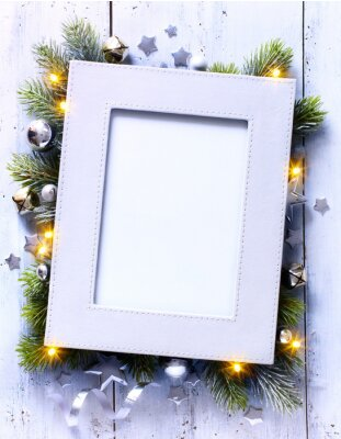 art Christmas decor background with holidays decoration and place for text