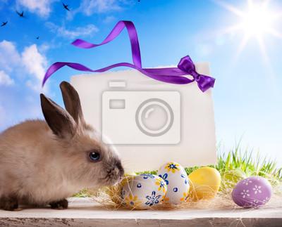 art Karty z pozdrowieniami Wielkanoc z Easter bunny i easter eggs