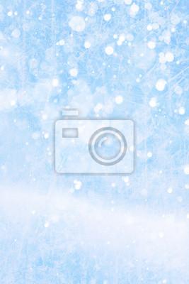 Art padającego śniegu na niebieskim tle