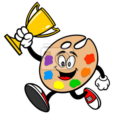 Art Palette Running with Trophy