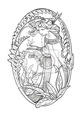 Art szkic bajki pani z motyli i kwiatów. Ilustracja atramentu samodzielnie na białym tle. Kolorowanka Strona z elf dziewczyna w stylu boho.
