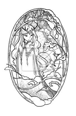 Art szkic bajki pani z ptakami w zimowym lesie. Ilustracja atramentu samodzielnie na białym tle. Kolorowanka Strona z elf dziewczyna w stylu boho.