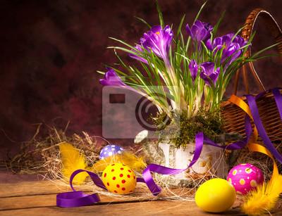 art Wielkanoc tła z krokusów i pisanki